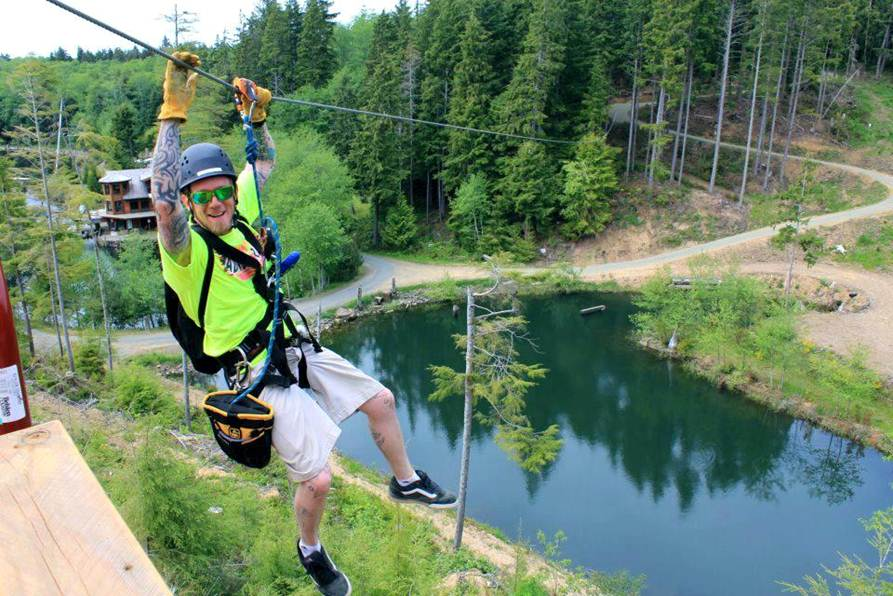 Zip lining over the forest.