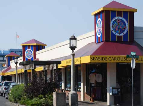 Seaside Carousel Mall, with a full sized, fully-functioning carousel is located in downtown Seaside, just 2 block from the famous Prom and Turnaround.
